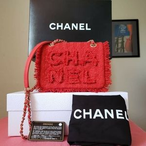 Chanel single flap red tweed 2020 bag